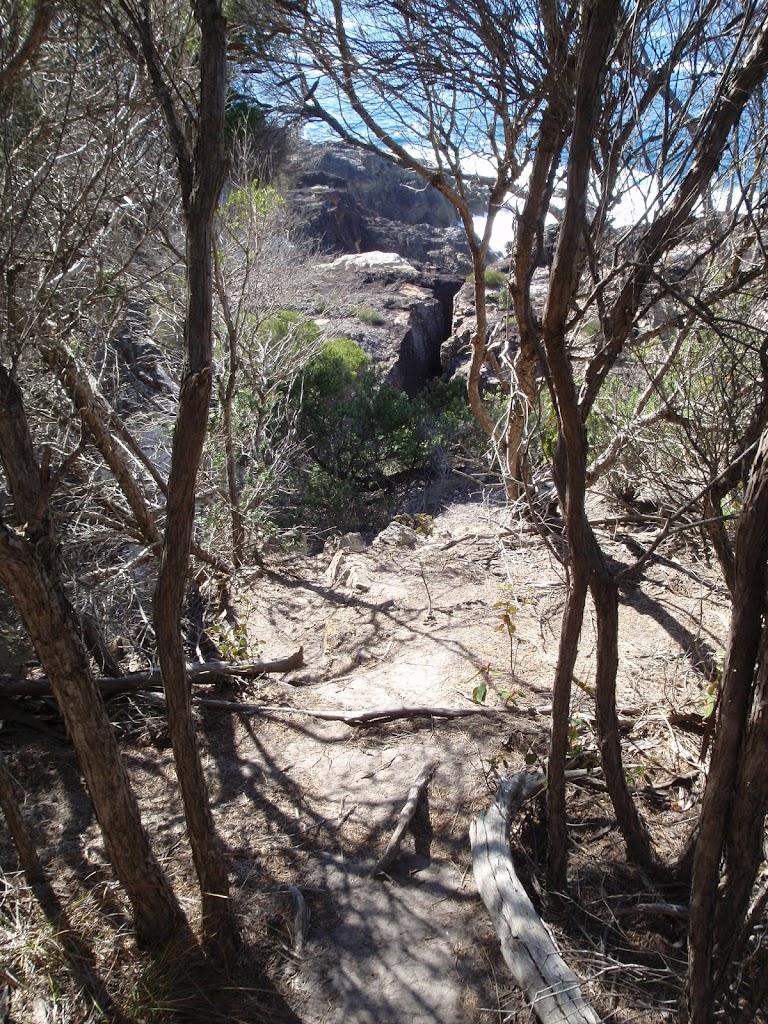 View down to rocks