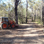 Tractor beside track to Bournda Trig