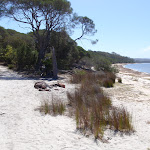 Intersection of Hobart Beach and track to camping area