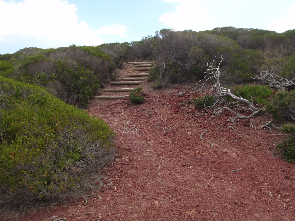 Stairs onto red cliffs