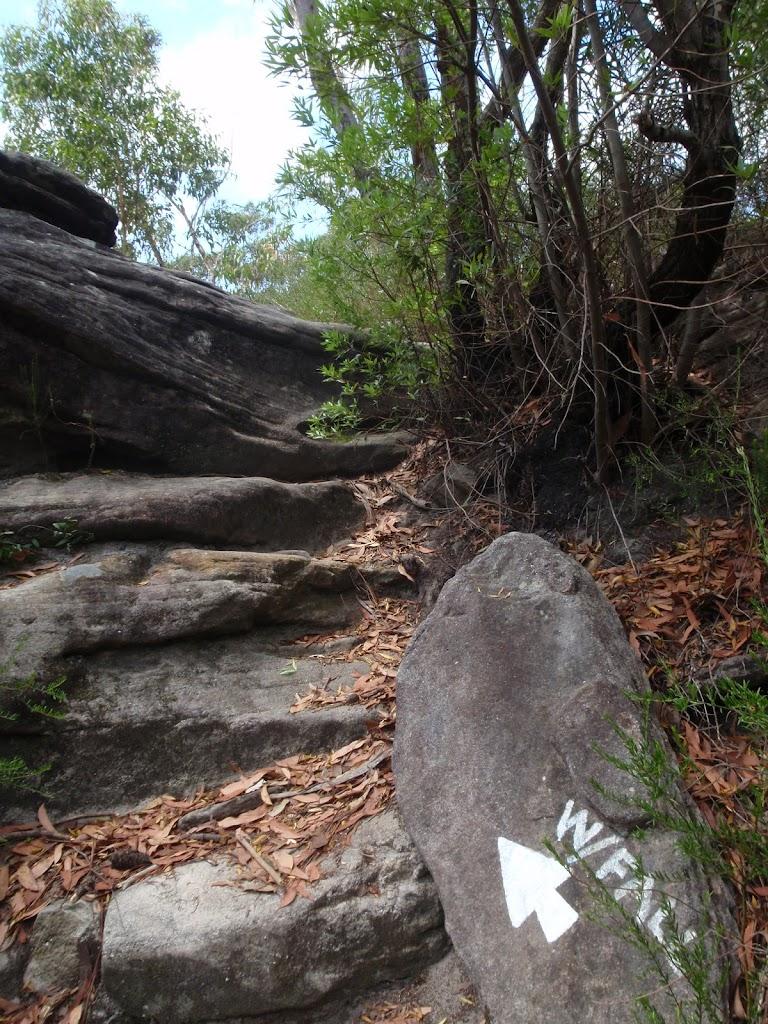 Climbing up onto a rock shelf