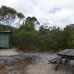 Toilet and table and Kingfisher pool campsite