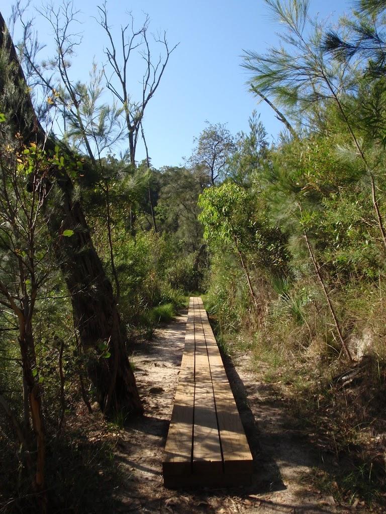 Crossing a narrow boardwalk