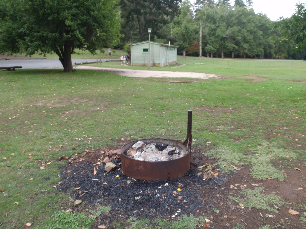 Fire pit and toilet in background