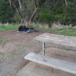 Picnic table and campfire