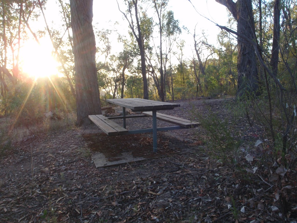 Picnic table in one of the camping areas