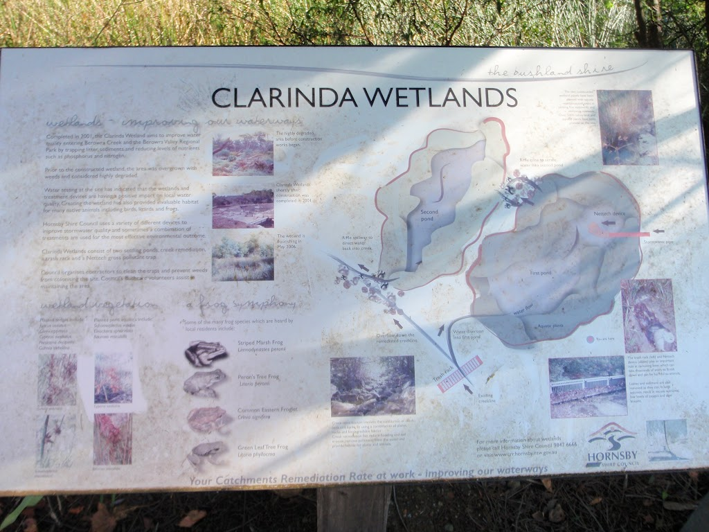 Clarinda Wetlands information sign