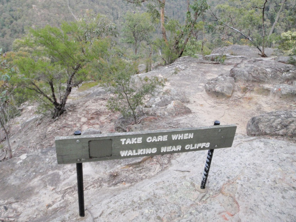 Take care sign atop Pisgah Rock (143697)