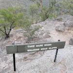 Take care sign atop Pisgah Rock (143697)