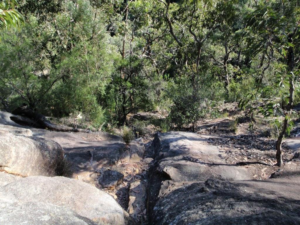 Looking down climb between Pisgah Rock and Erskine Creek