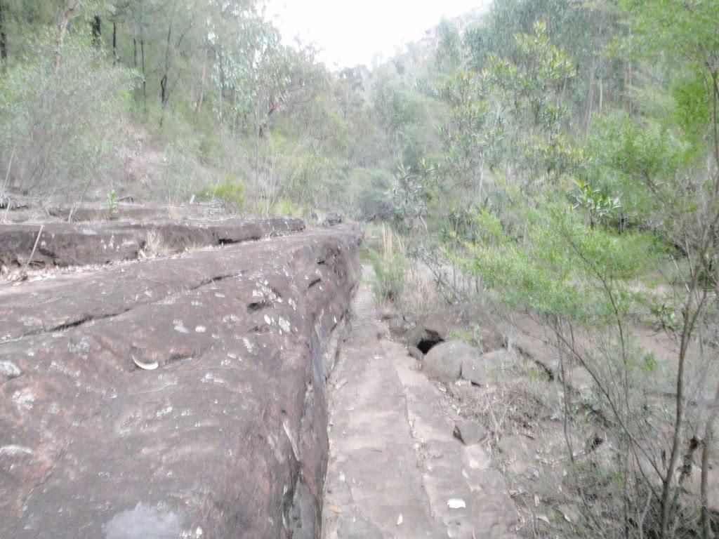 Rock platforms beside the creek can make for easer walking