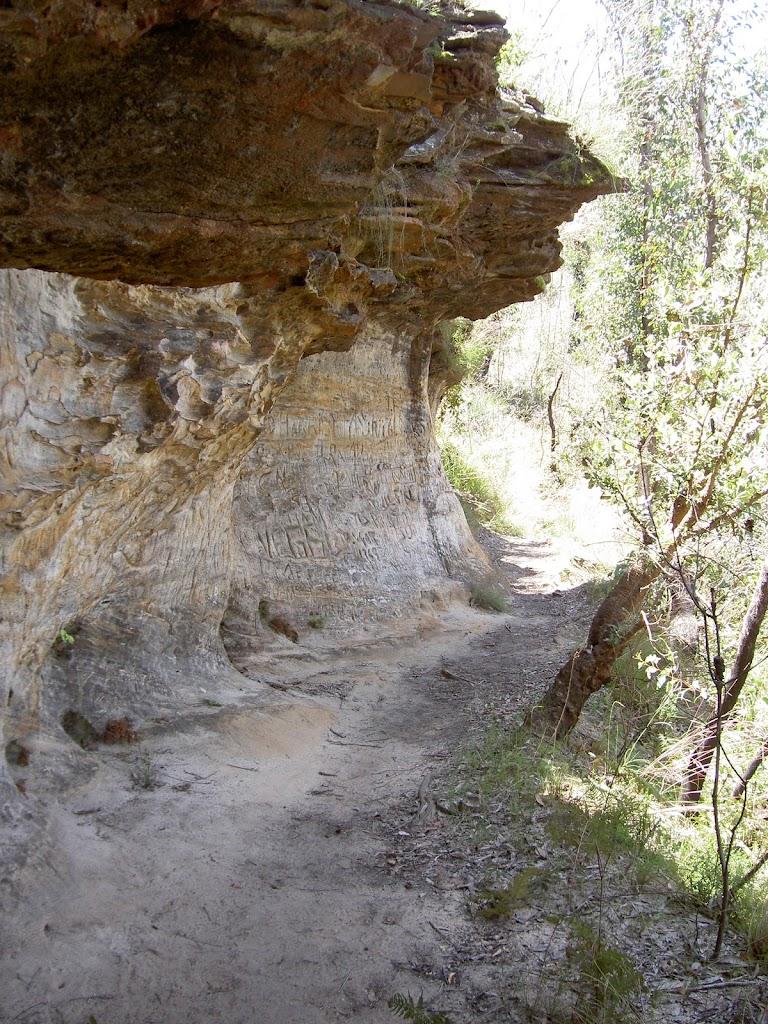Track beneath cave