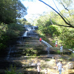 Children playing in Katoomba Falls Waterfall
