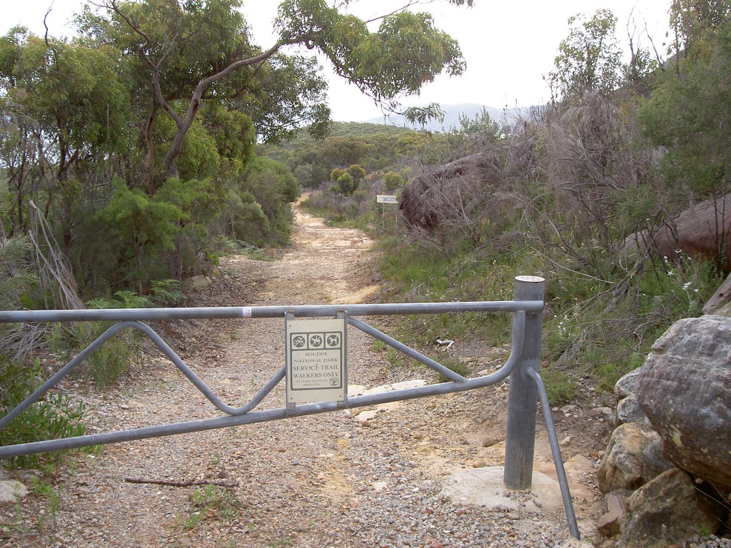 Gate on car park at the end of Hawke Head Drive