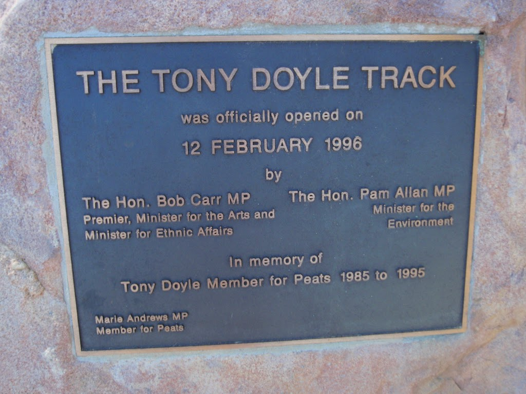 Plaque about the Tony Doyle Track