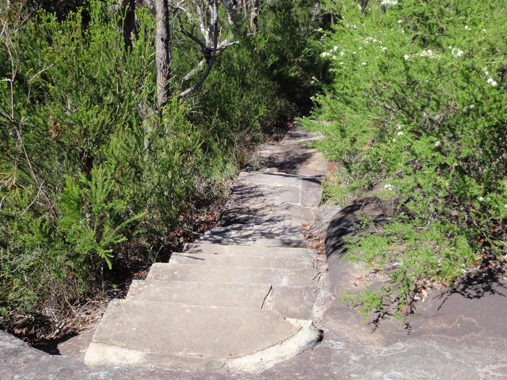 Sandstone steps on path