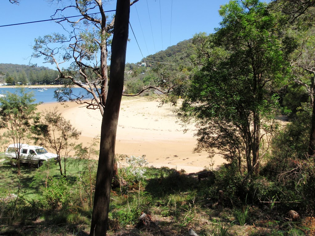 Looking across dark corner to Patonga from track (218891)