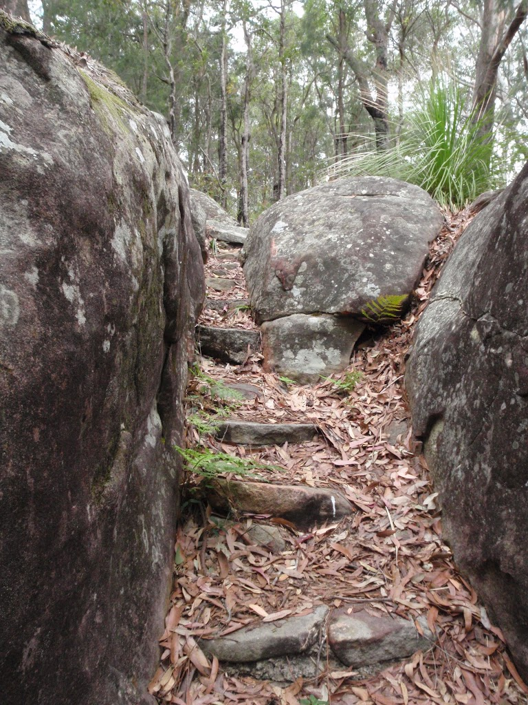 Steps through cleft in the rock