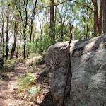 Great boulders scatter the ridge