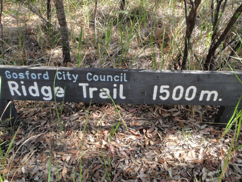 Sign at the top of the Ridge Trail