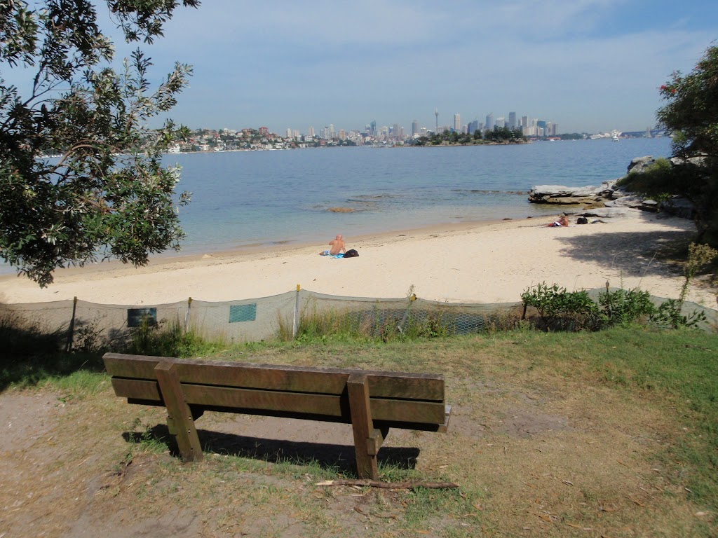 Seat looking over Milk Beach and Sydney Harbour