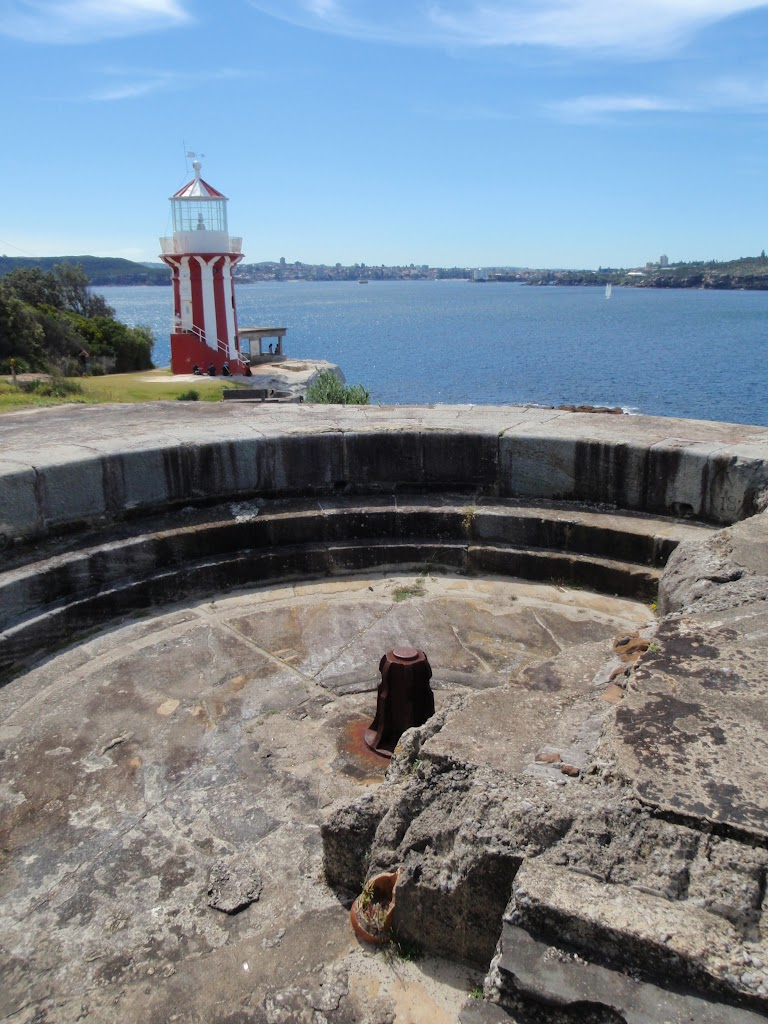 Gun Emplacment and Hornby Lighthouse, looking into the harbour