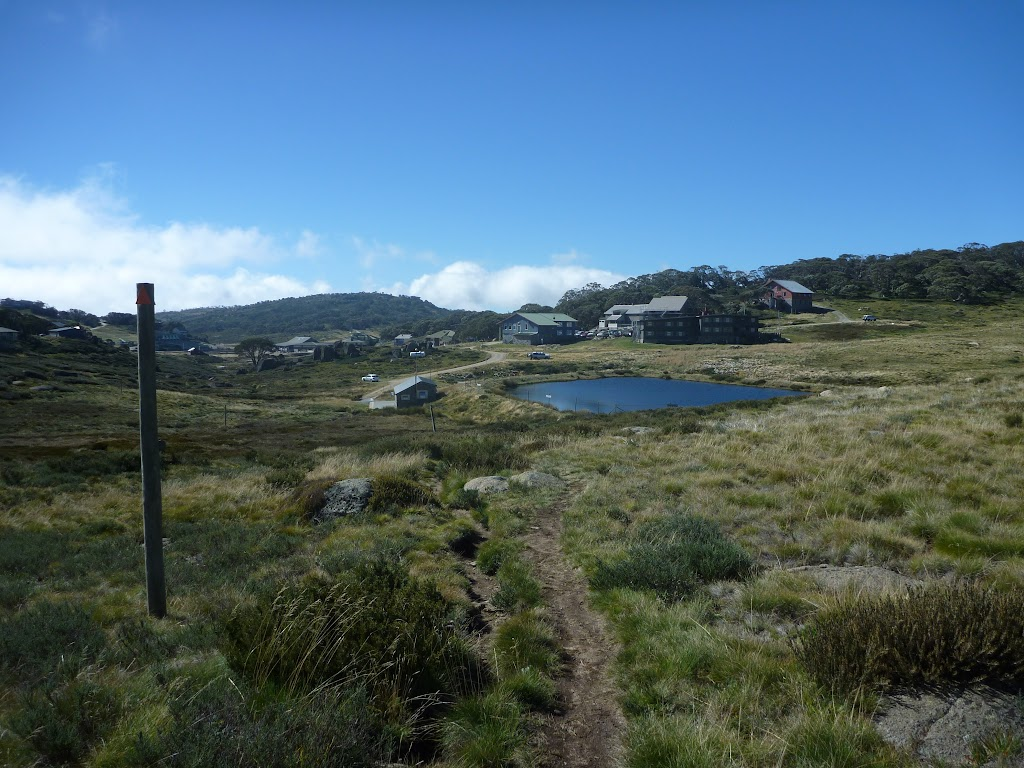 Looking down over Perisher Valley Reservoir and valley