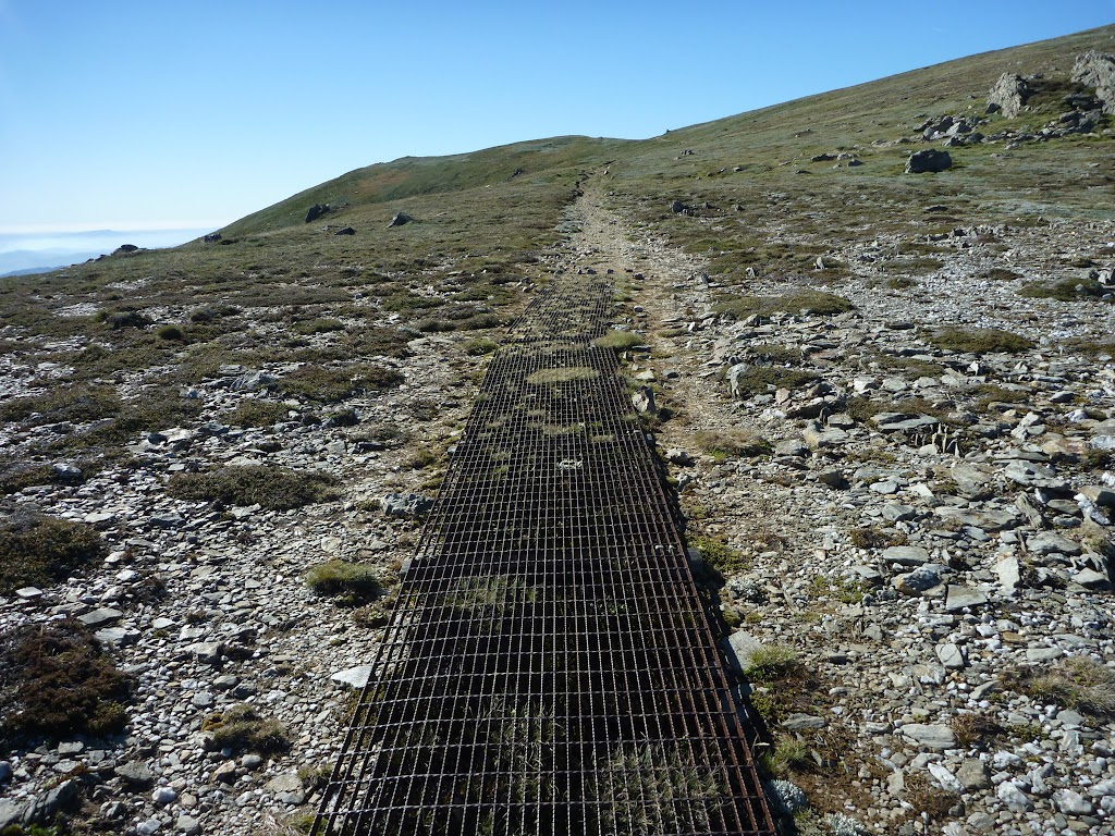 Metal grates on sections of the Main Range Track