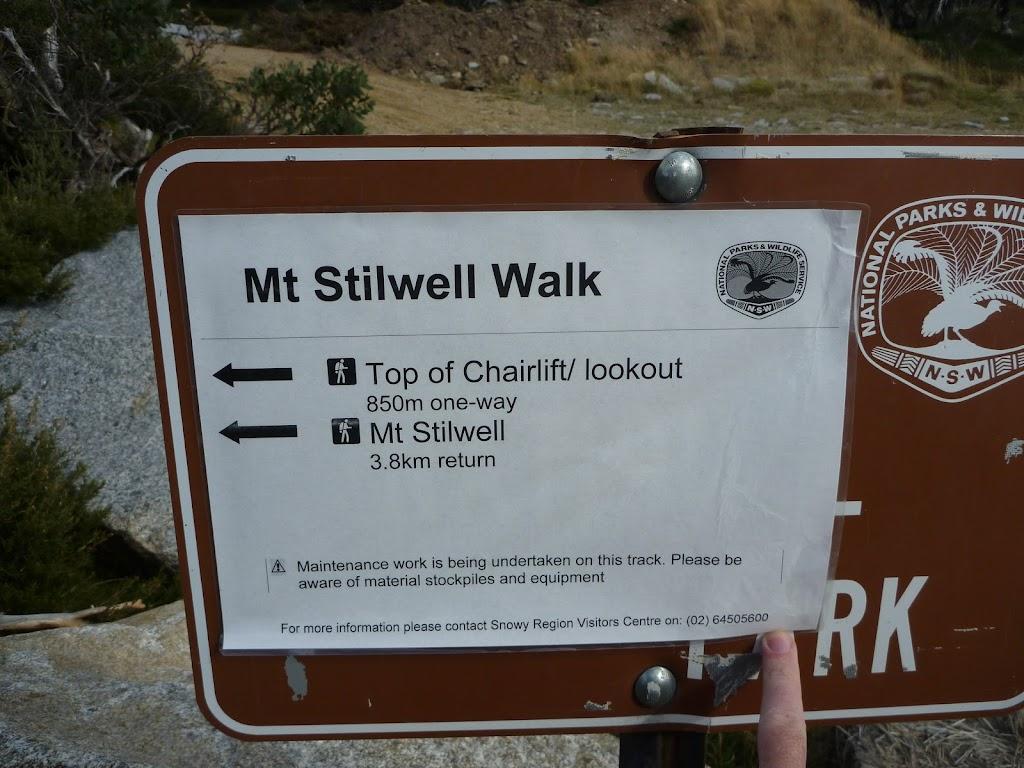 Mt Stilwell Walk sign