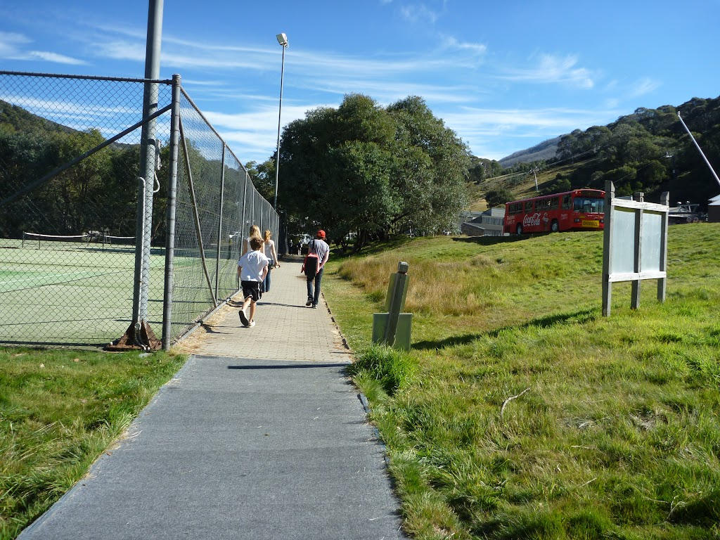 Passing the tennis courts