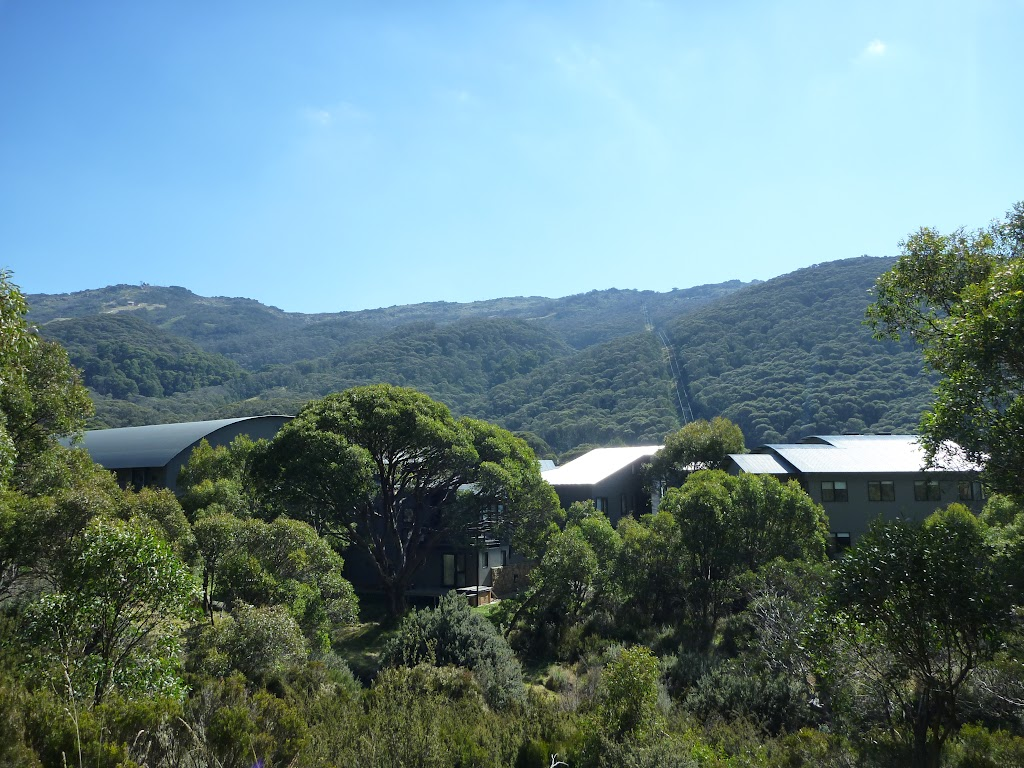Looking over the Thredbo Leisure centre from the Pipeline Path