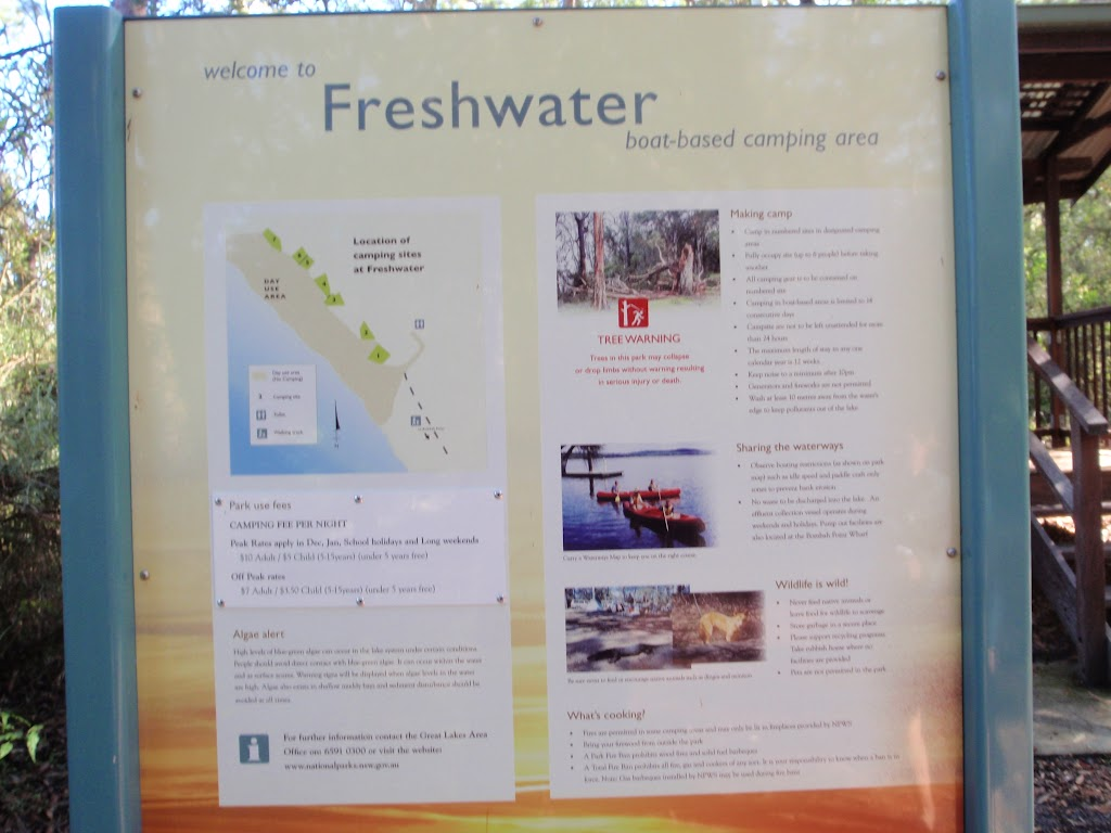 Information sign about Freshwater Camping Area