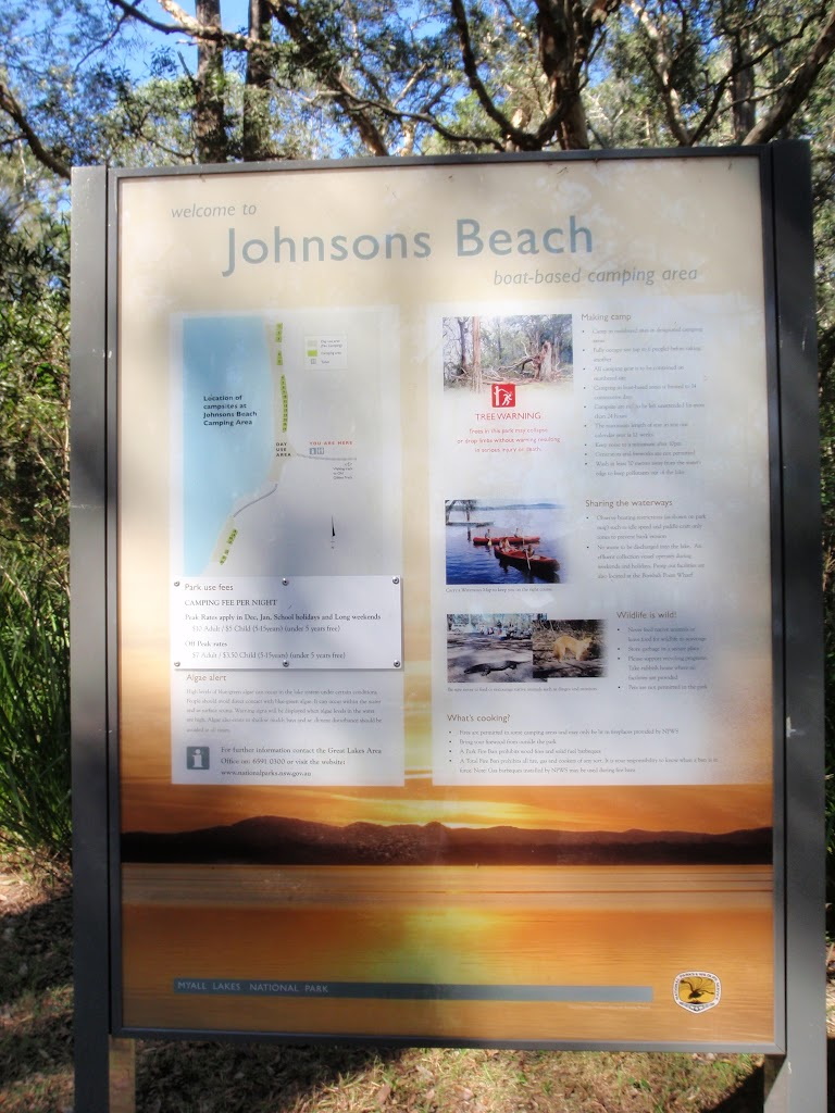 Information sign at Johnson's Beach