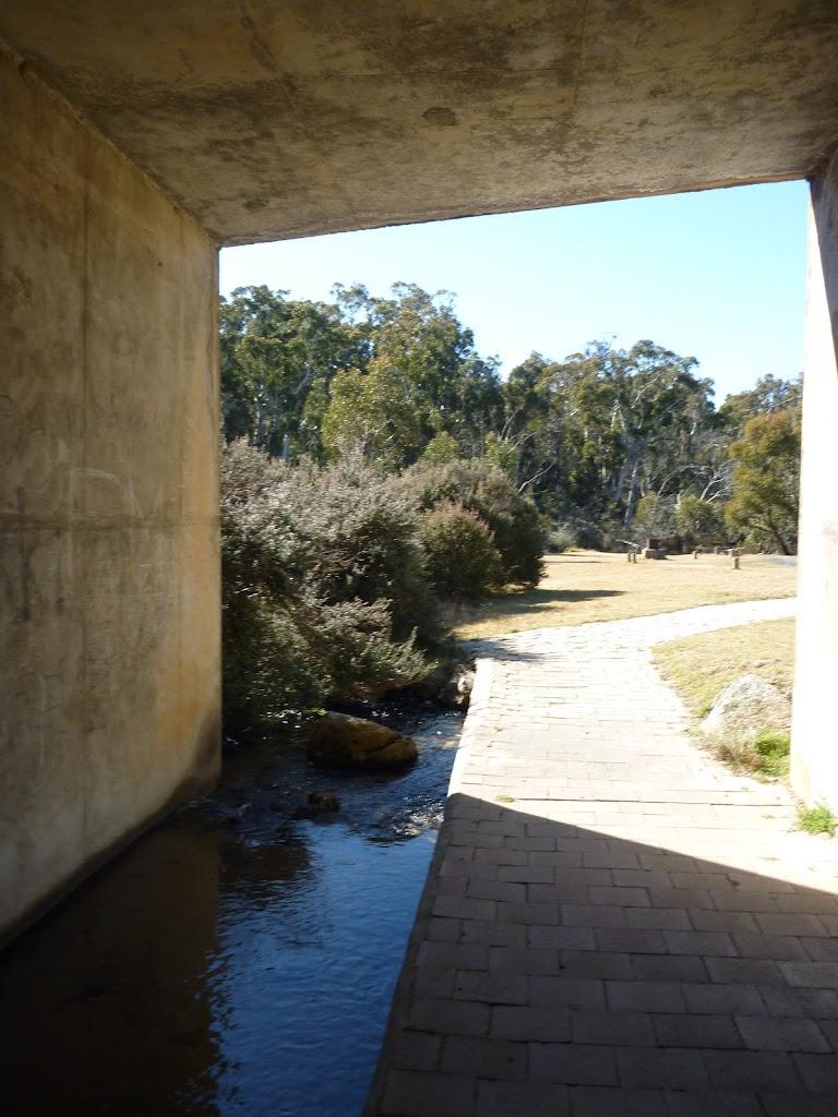 Walking through underpass