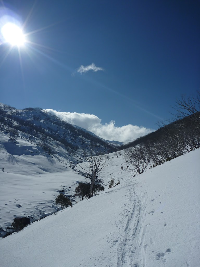 Walking on the side of Guthega River valley