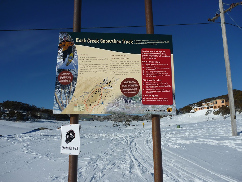 Rock Creek Snowshoe track information sign