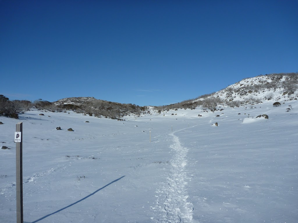 Snowshoeing up the wide valley