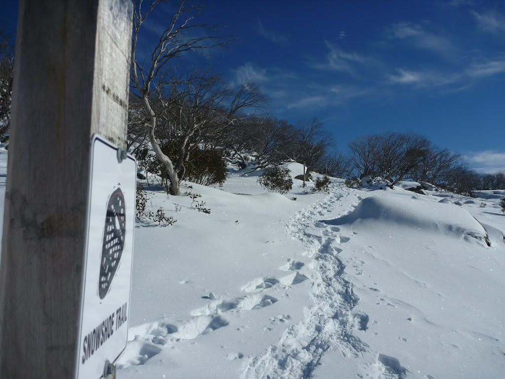 Following the Snowshoe trail sign
