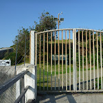 Locked gates at the entrance to Bare Island (308207)