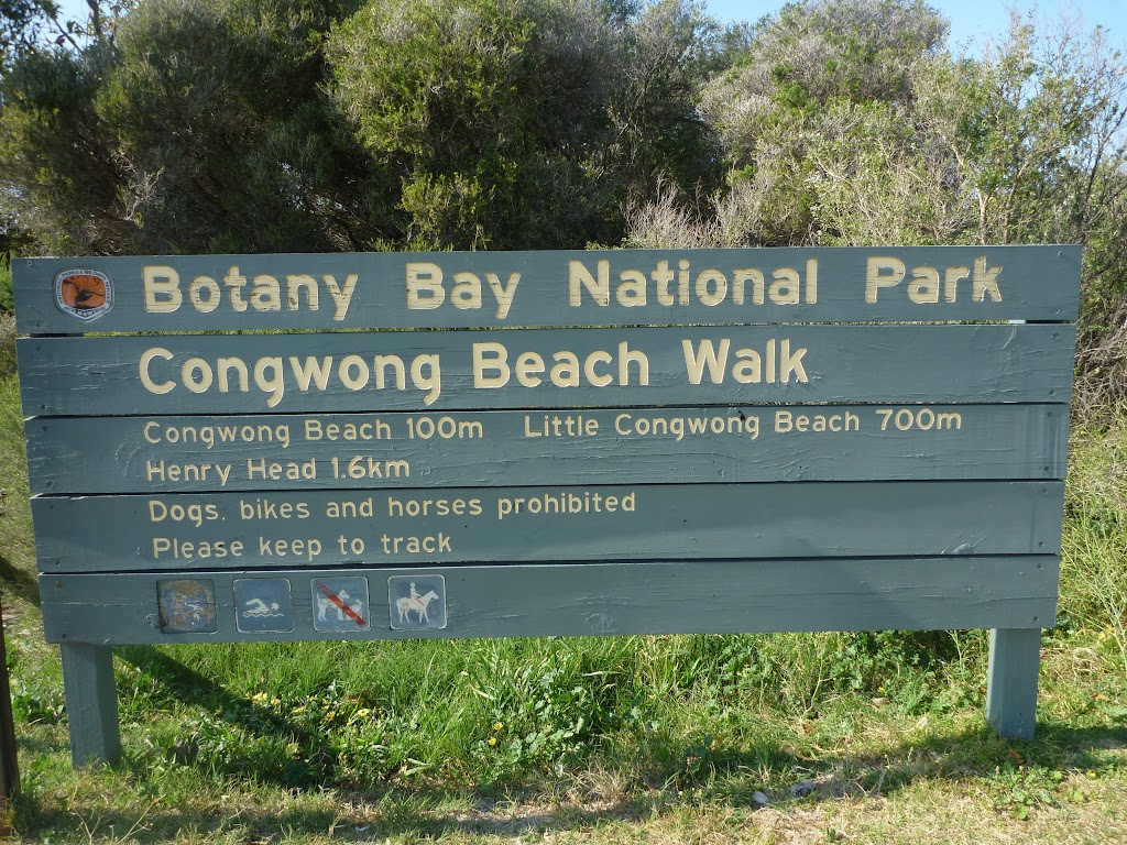Sign to Congwong Beach, near La Perouse