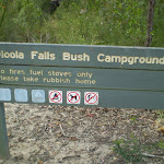 The sign at Uloola Falls campsite