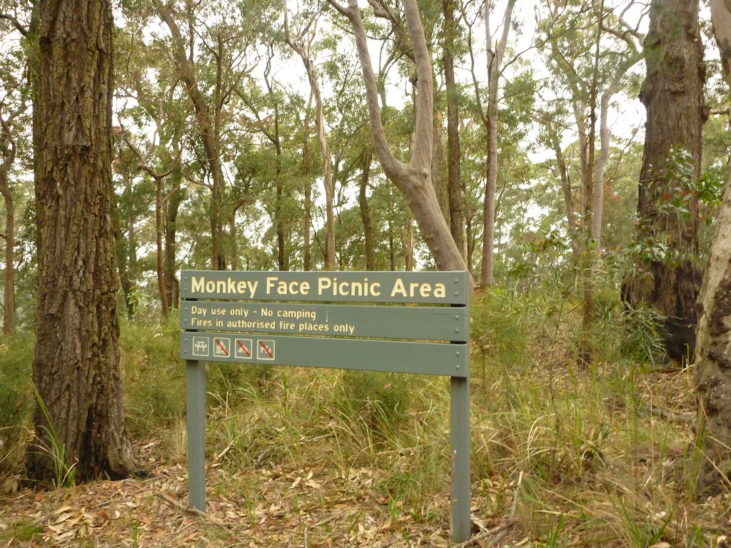 Sign showing Monkey Face Picnic Area near Monkey Face viewpoint in the Watagans