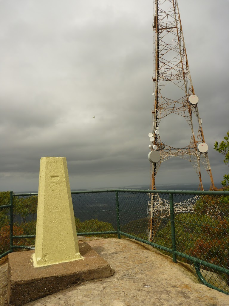 Yellow stone monument and tower on the Mt Sugarloaf summit (324224)