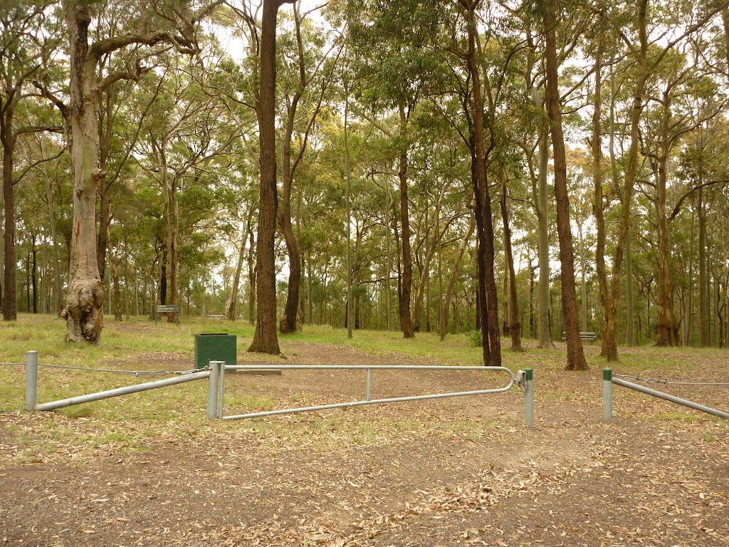 Locked gate and green track marker, near Mt Sugarloaf car park