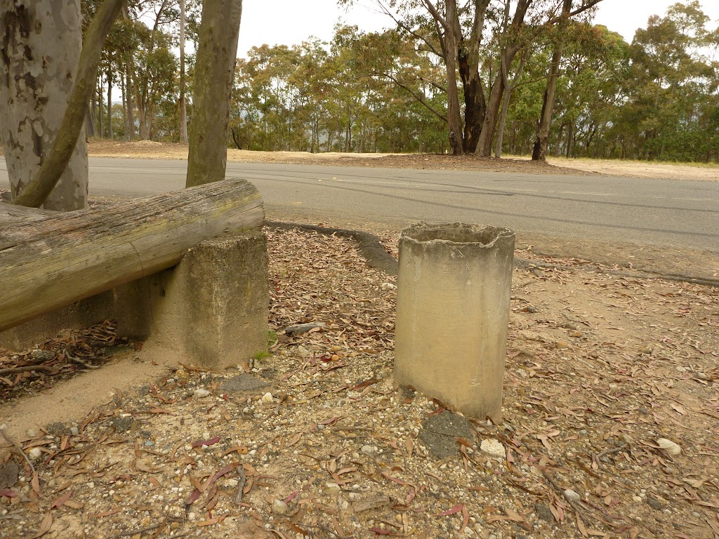 Lower Mt Sugarloaf car park and  concrete post