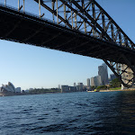 Looking under the Sydney Harbour Bridge to the Opera House