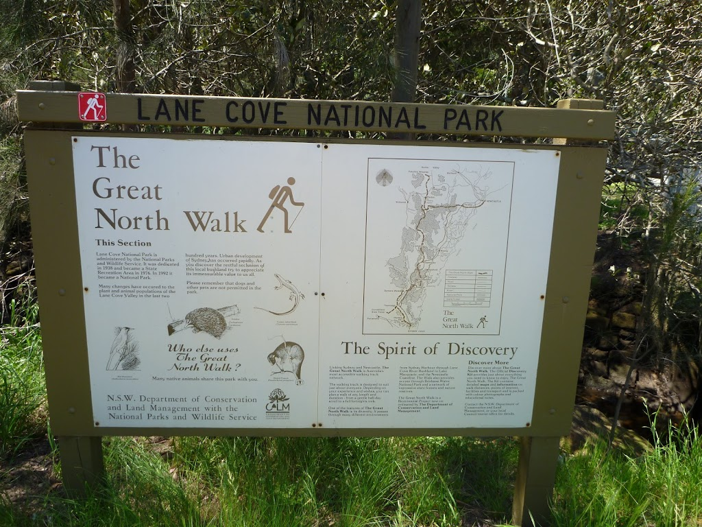 The Great North Walk sign at Max Allen Drive