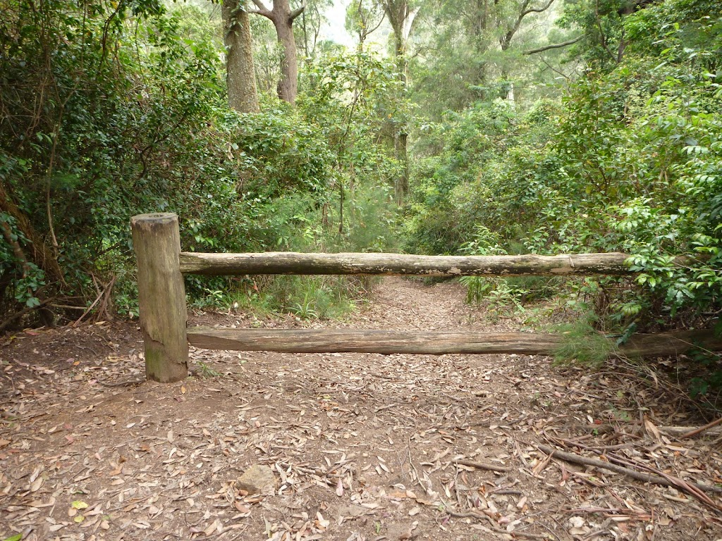 Plesent timber gate on the narrowing trail