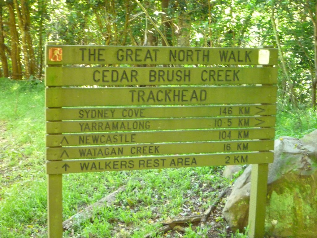 Cedar Brush Creek Trackhead sign