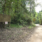 Ourimbah Valley Trackhead sign on Ourimbah Creek Rd